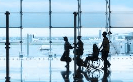 wheel chair users at an airport