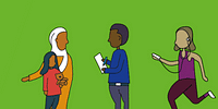 An illustration with a green background and simple line drawings of people